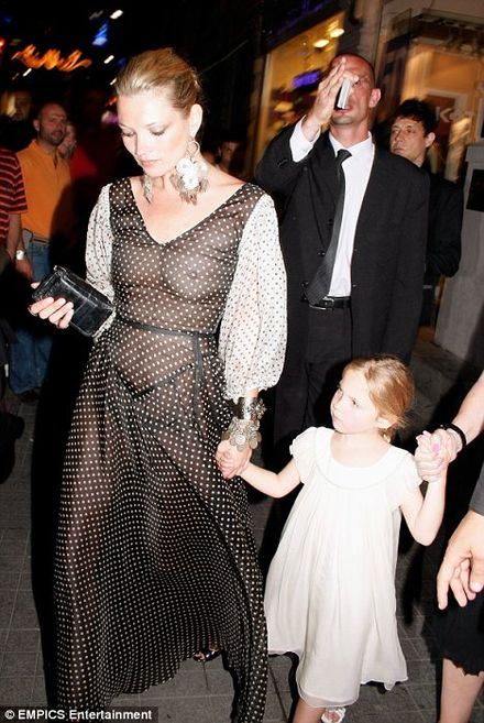 Kate Moss chooses daring see-through dress for evening out with daughter Lila Grace