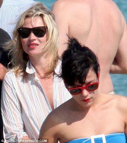 Lily Allen joins best friend Kate Moss as she makes a splash in St Tropez