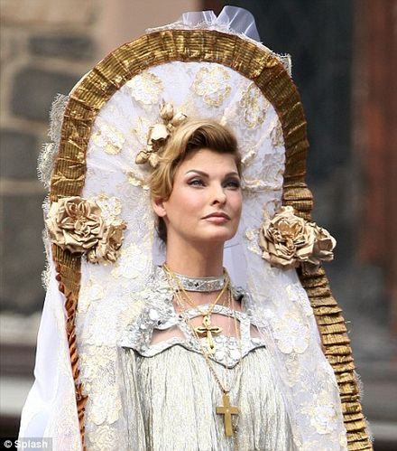 Supermodel Linda Evangelista is a vision of beauty as she recreates religious procession