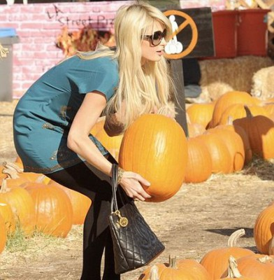 Paris Hilton leads the Hollywood Pumpkin Patch pack (wearing high heels, of course)