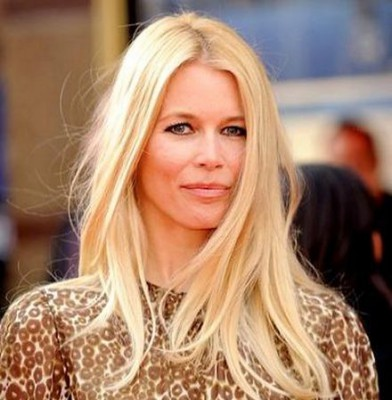 Claudia Schiffer steps off the catwalk