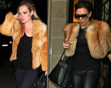 Posh and Kate Moss in matching furry jackets