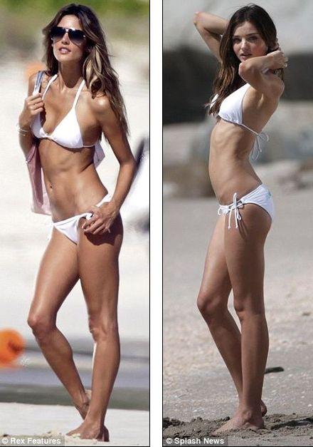 Battle of the bikinis as victoria s secret models miranda kerr and