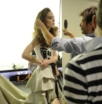 Coco Rocha gets primped and ready at NYC fashion show