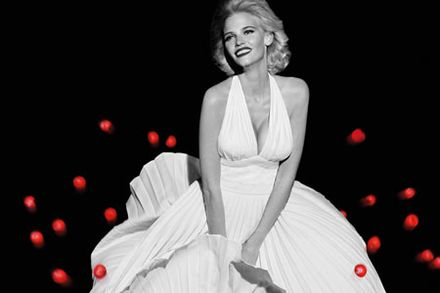 Lara Stone poses as Marilyn Monroe to launch Red Nose Day this year