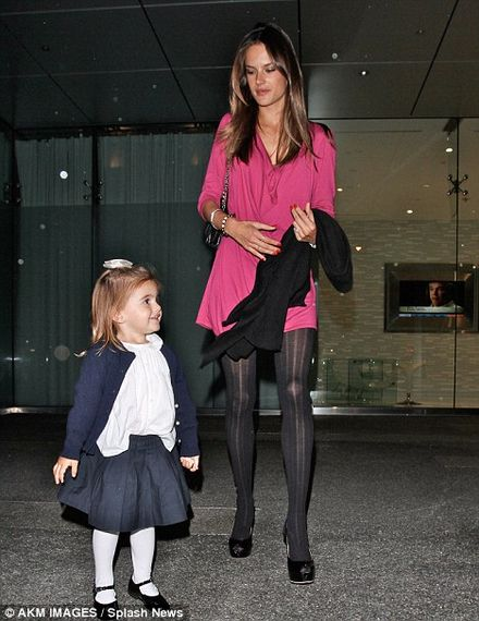 Alessandra Ambrosio teaches her daughter how to strike a pose