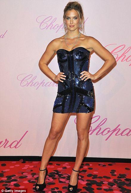 Bar Refaeli poses in a pretty short dress