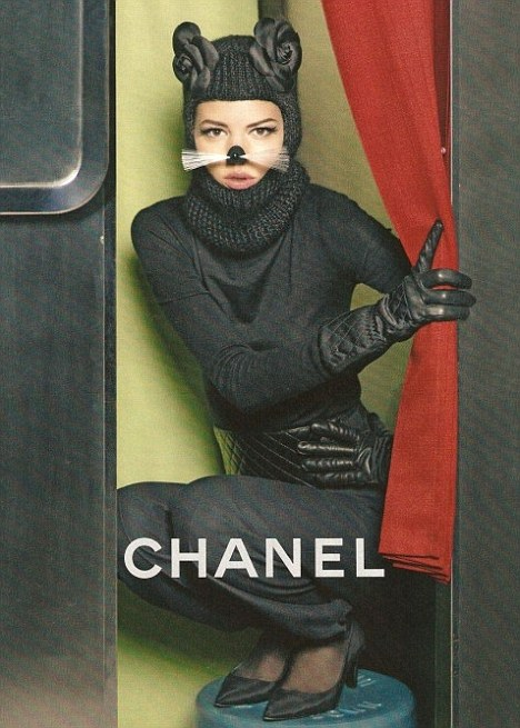 Freja dressed as a cat in new Chanel campaign