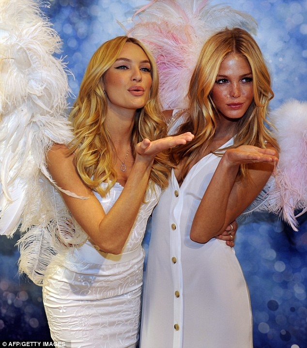 Candice Swanepoel and Erin Heatherton in NYC for launch of VS new fragrance