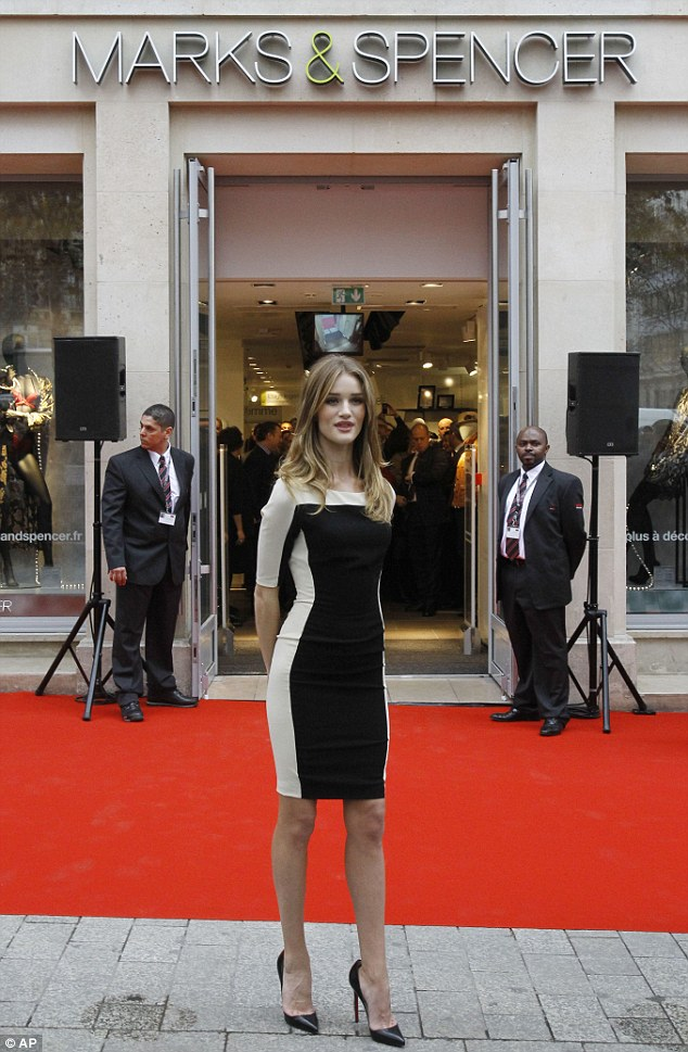 Rosie Huntington-Whiteley at opening of new Marks & Spencer in Paris