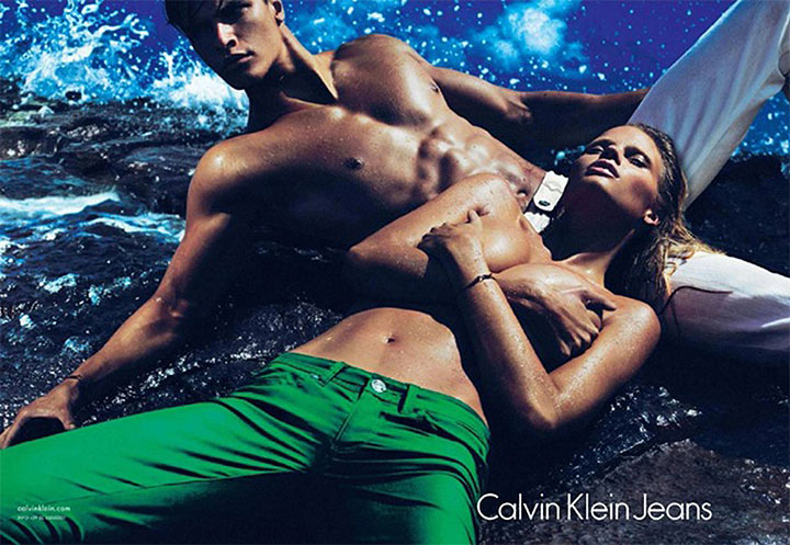 Lara Stone goes topless for CK Jeans