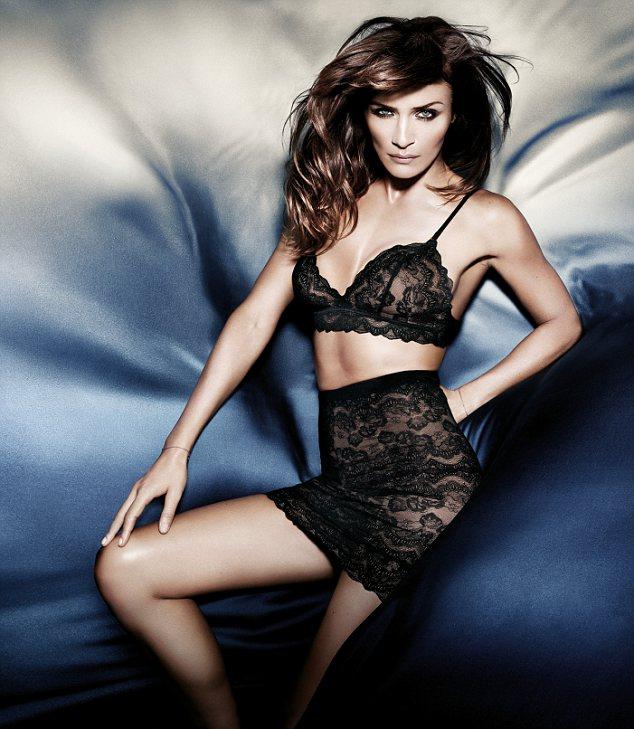 Helena Christensen models her lingerie designs