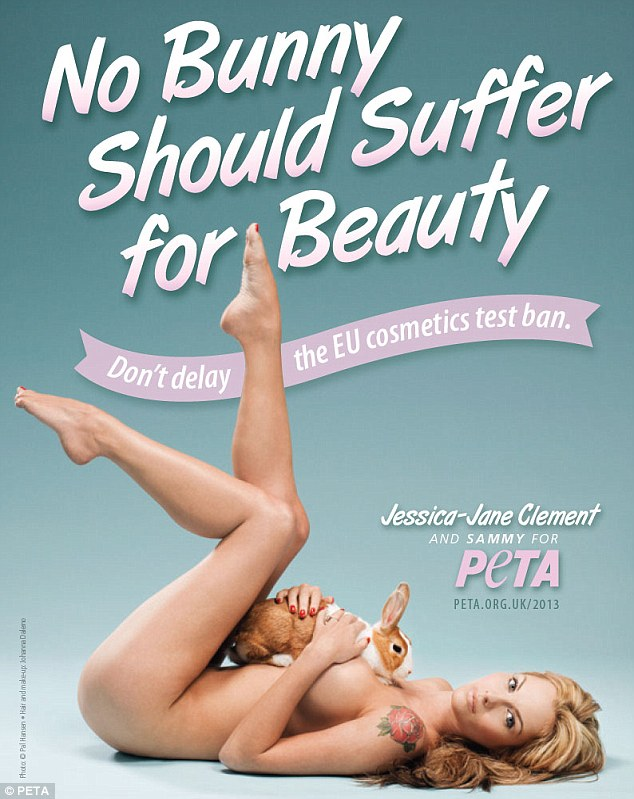 Jessica-Jane Clement strips for PETA ad