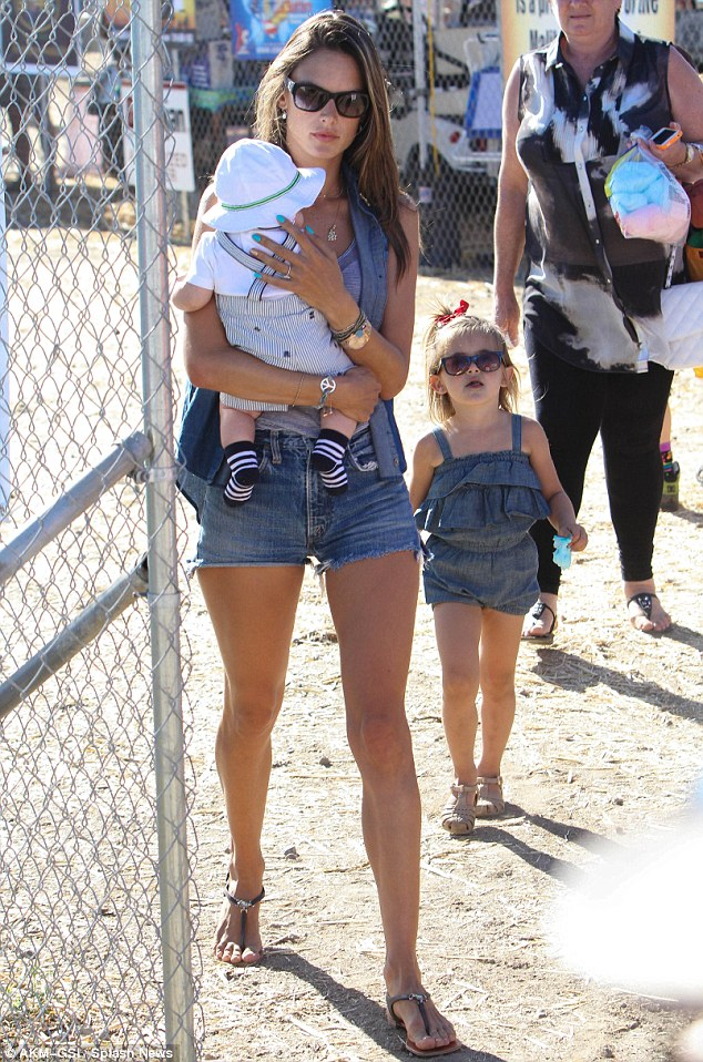 Alessandra Ambrosio and daughter Anja colour-coordinate perfectly