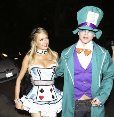 Paris Hilton tries out the �Alice in Wonderland� look a second time around for Halloween party