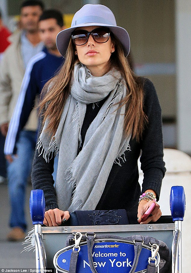 Alessandra Ambrosio jets into New York wearing a glum look