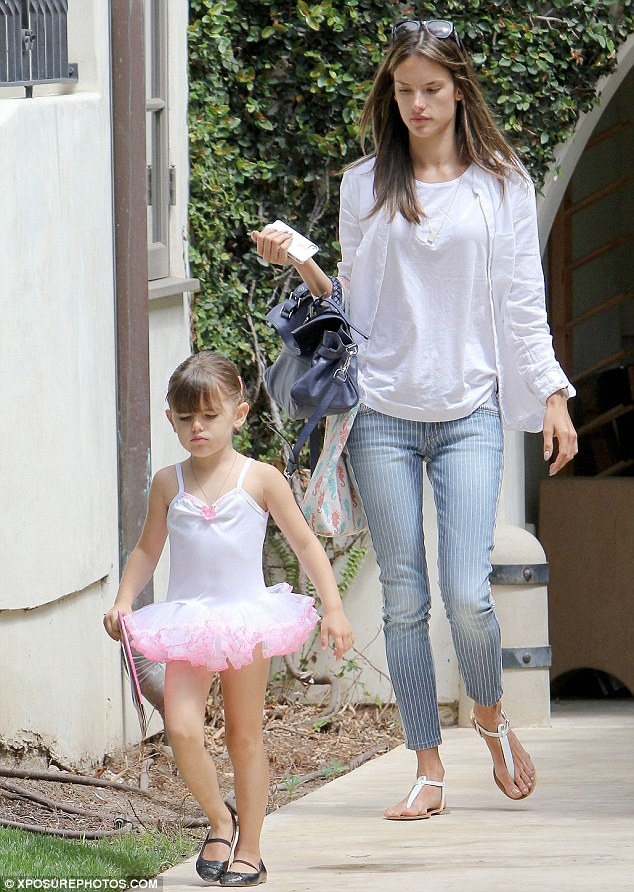 "Alessandra Ambrosio's ""little angel"" pouts up a storm after dance class"