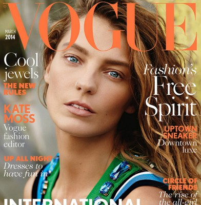 Daria Werbowy for Vogue UK, with Kate Moss as fashion editor