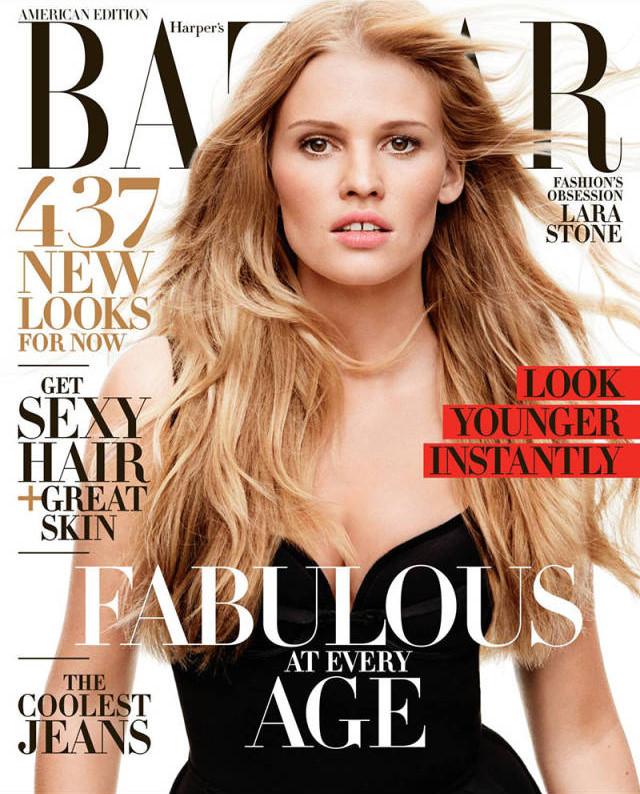 Lara Stone covers Harper\'s Bazaar US