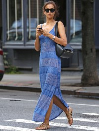Irina Shayk stuns in striped maxi dres