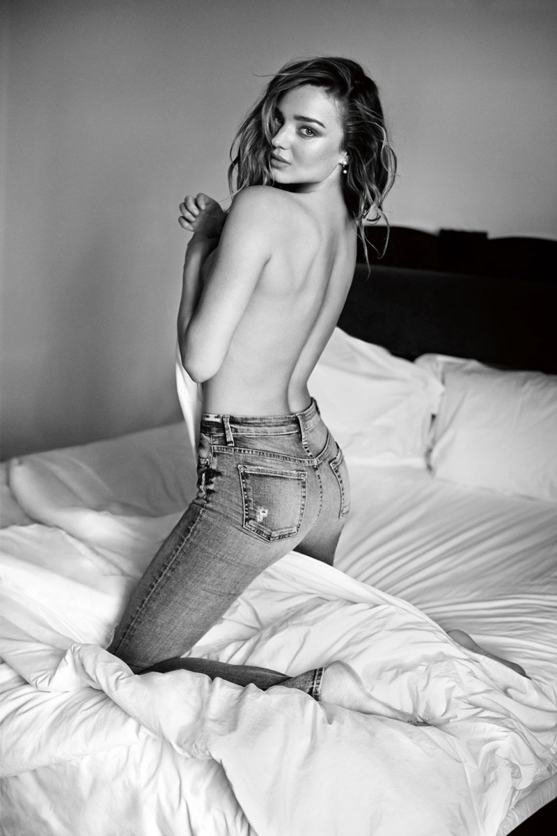 Miranda Kerr poses topless for 7 For All Mankind campaign