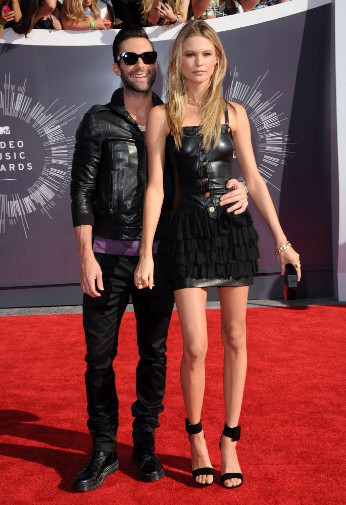 Behati Prinsloo and Adam Levine rock complimenting outfits to the VMAs