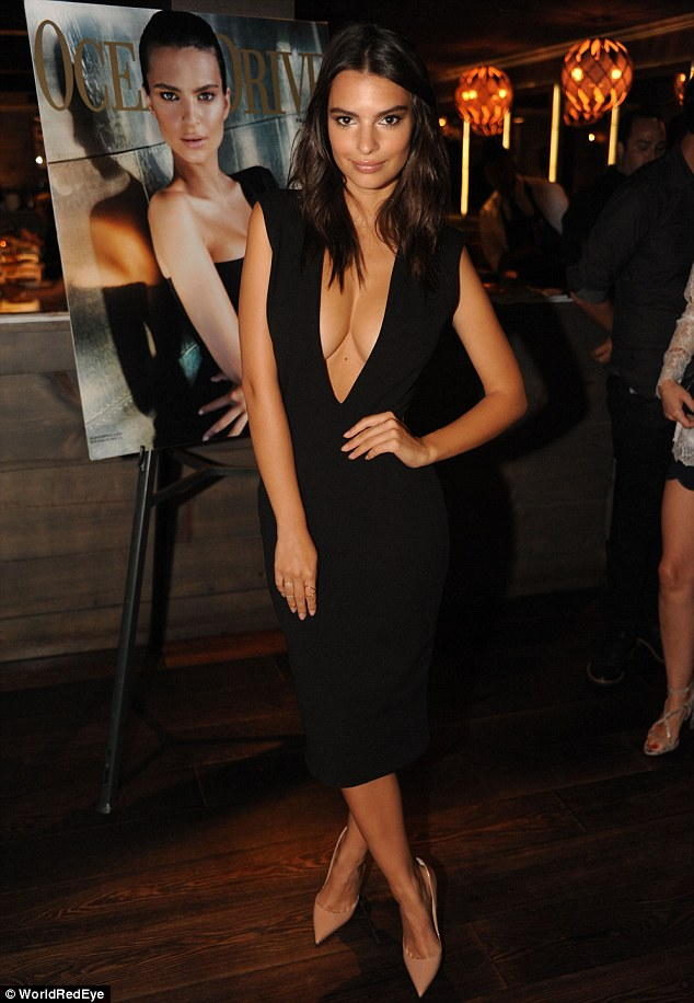 Emily Ratajkowski sizzles in plunging dress while celebrating her Ocean Drive cover