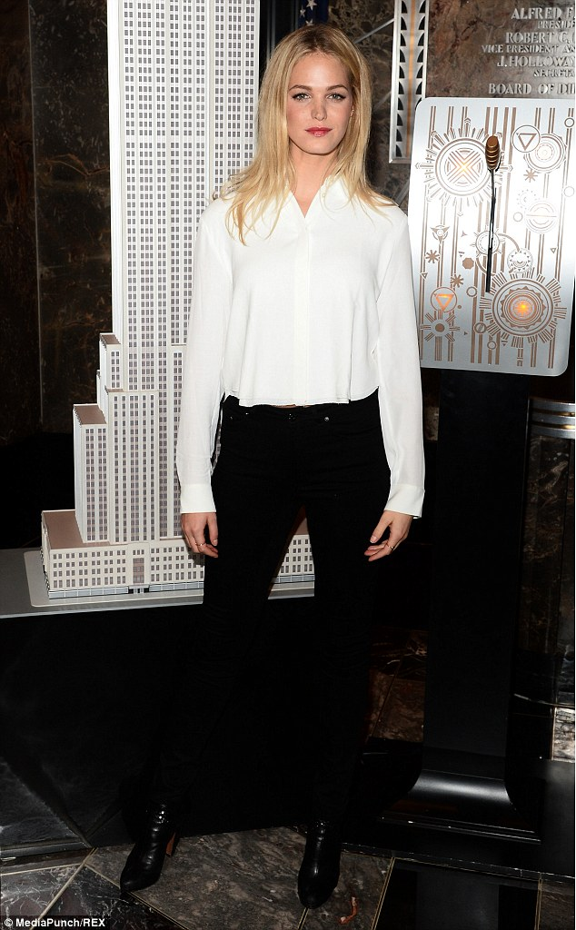 Erin Heatherton lights up the Empire State Building in monochrome ensemble