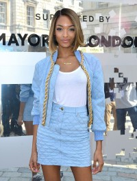 Jourdan Dunn turns heads in powder blue ensemble during the first day of LFW
