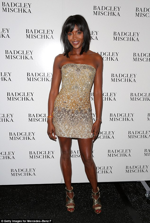 Naomi Campbell dazzles in sequined dress during Badgley Mischka runway show