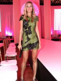 Petra Nemcova stuns in green and black mini dress at Prague Fashion Week