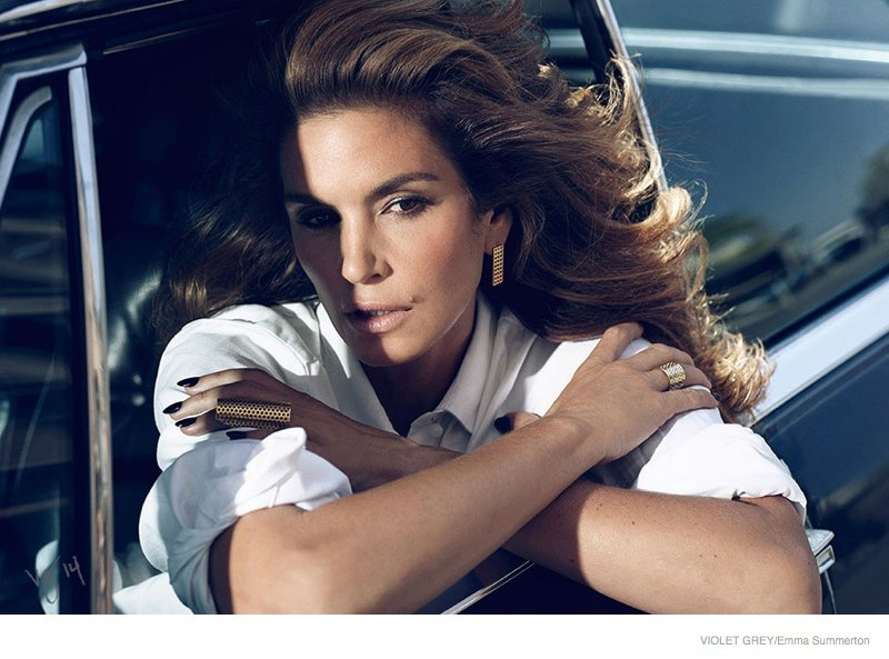 Cindy Crawford Is Sexy & Glamorous In Violet Grey Beauty Editorial