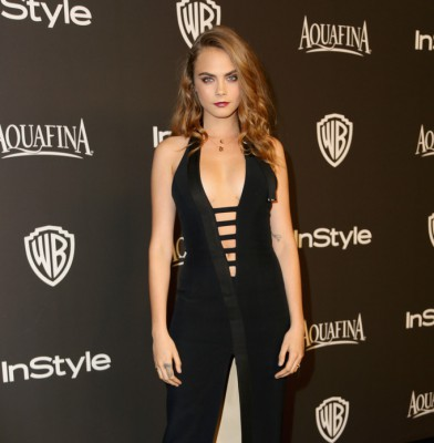 Cara Delevingne takes the plunge at Golden Globes after-party