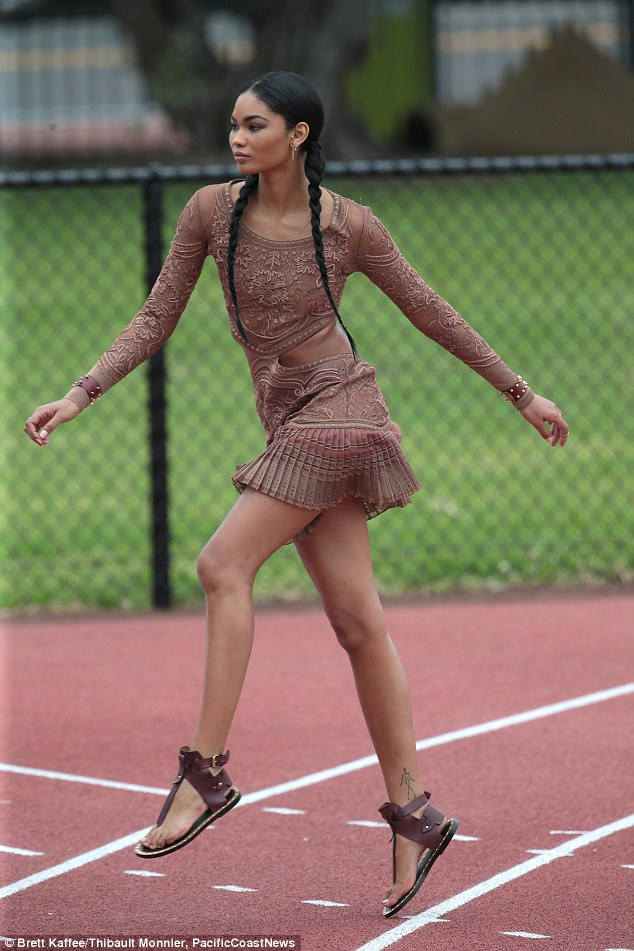 Chanel Iman turns heads during athletic fashion shoot