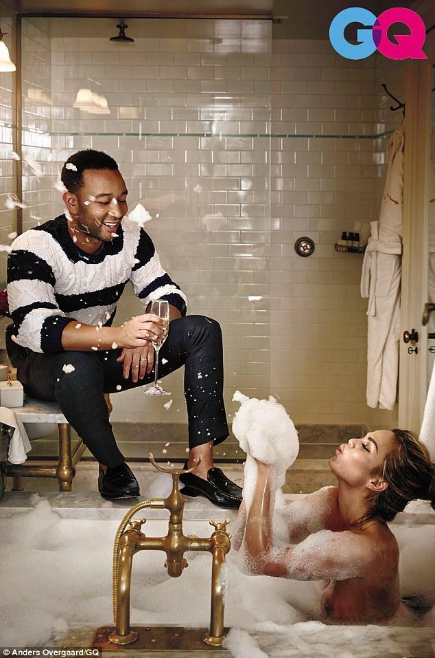 Chrissy Teigen gets intimate with John Legend for GQ US