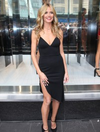 Heidi Klum dons clingy LDB at store launch of her intimates collection
