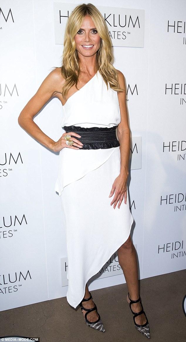 Heidi Klum rocks asymmetrical frock at Australian lauch of her intimates range