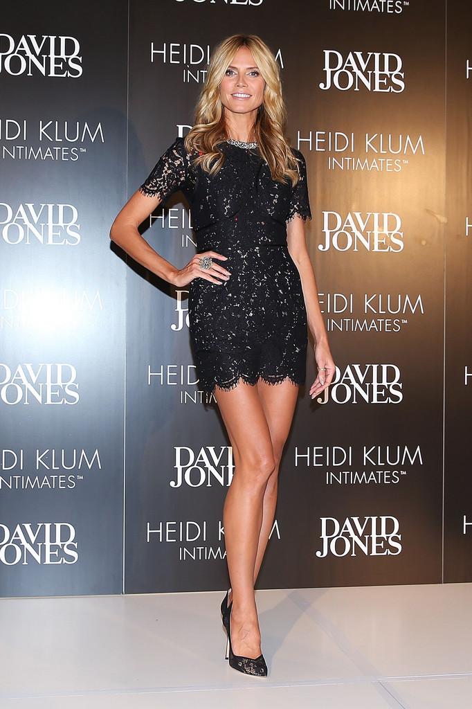 Heidi Klum rocks lace mini dress at store launch of her intimates range