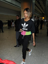 Jourdan Dunn dons sporty outfit as she lands in London