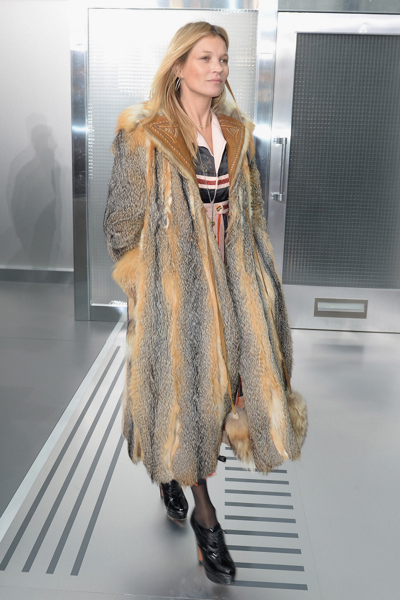Kate Moss hits Louis Vuitton menswear show in extravagant fur coat