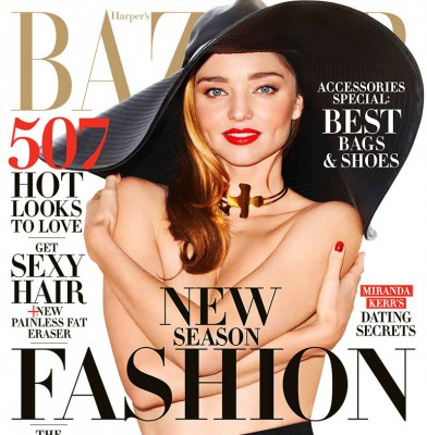 Miranda Kerr goes topless for Harper\'s Bazaar US