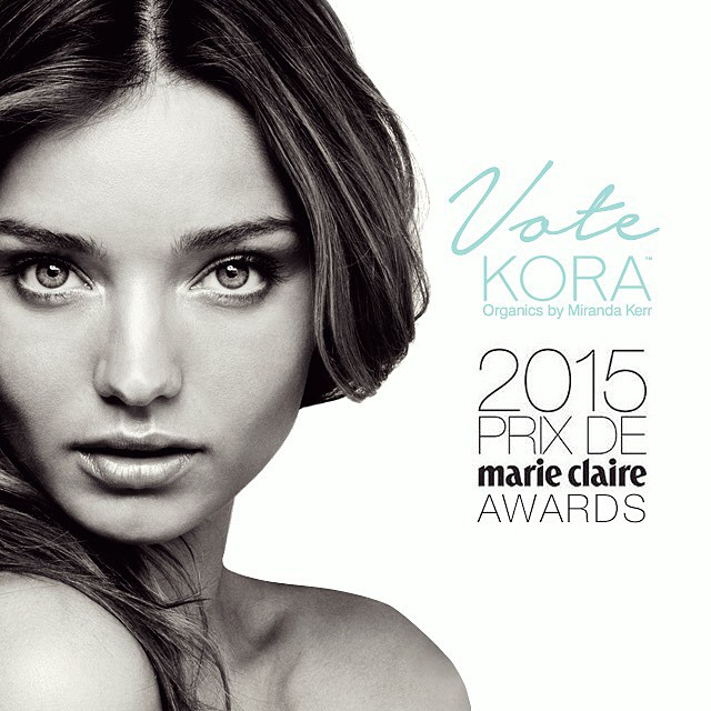 Miranda Kerr gushes that her skincare line Kora is up for an award