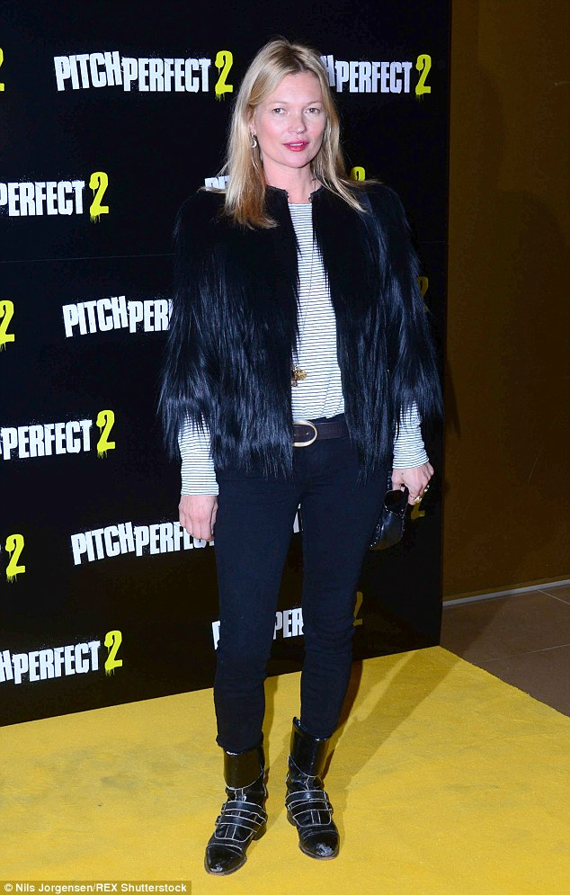Kate Moss rocks monochrome getup for VIP screening of Pitch Perfect 2