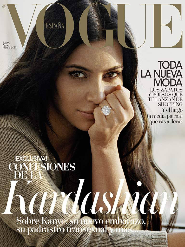 Kim Kardashian Goes Makeup-Free For Vogue Spain Cover