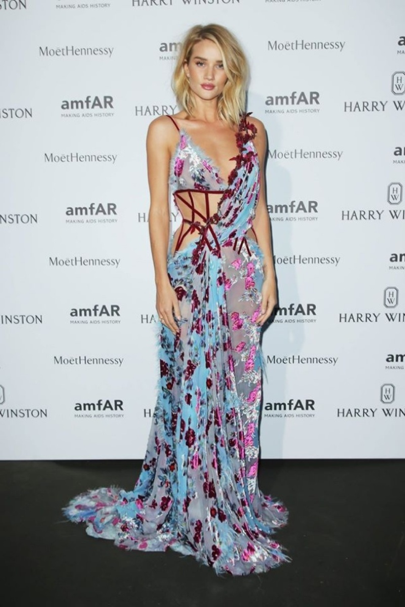 Rosie Huntington-Whiteley Stuns In Atelier Versace At AMFAR