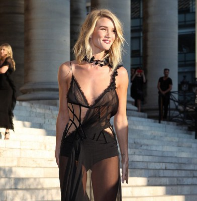 Rosie Huntington-Whiteley is a sheer delight at Atelier Versace show