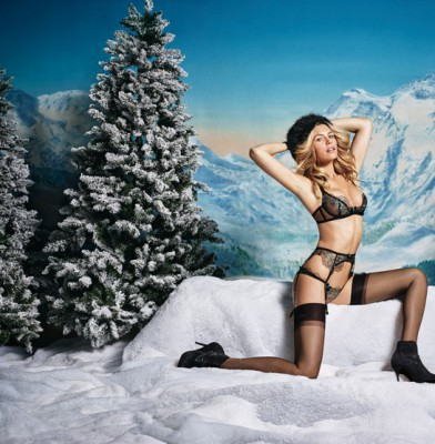 Abbey Clancy goes topless for Agent Provocateur\'s winter lingerie campaign