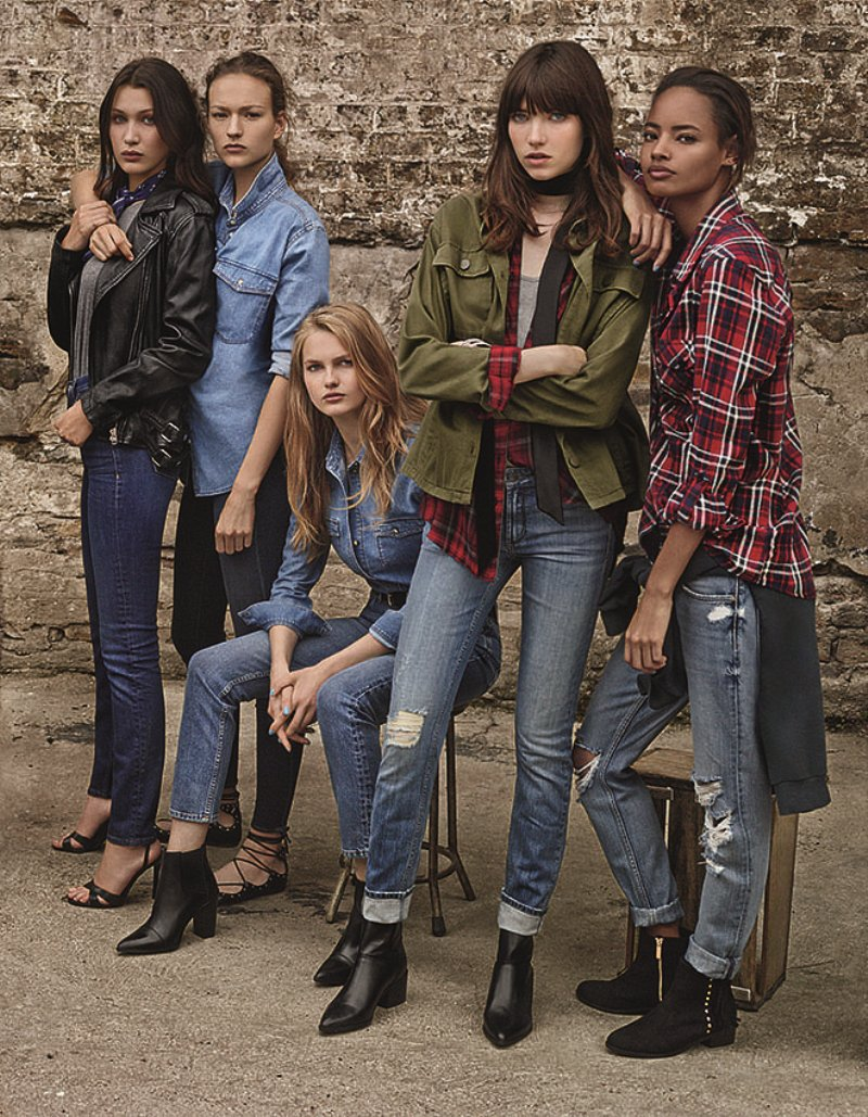 Bella Hadid & Models on the rise front Topshop\'s SS\'16 Denim Campaign