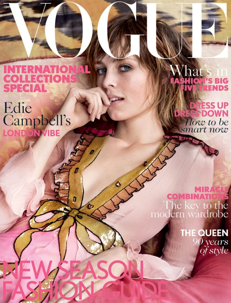 Edie Campbell is a vision in pink on the March Cover of British Vogue