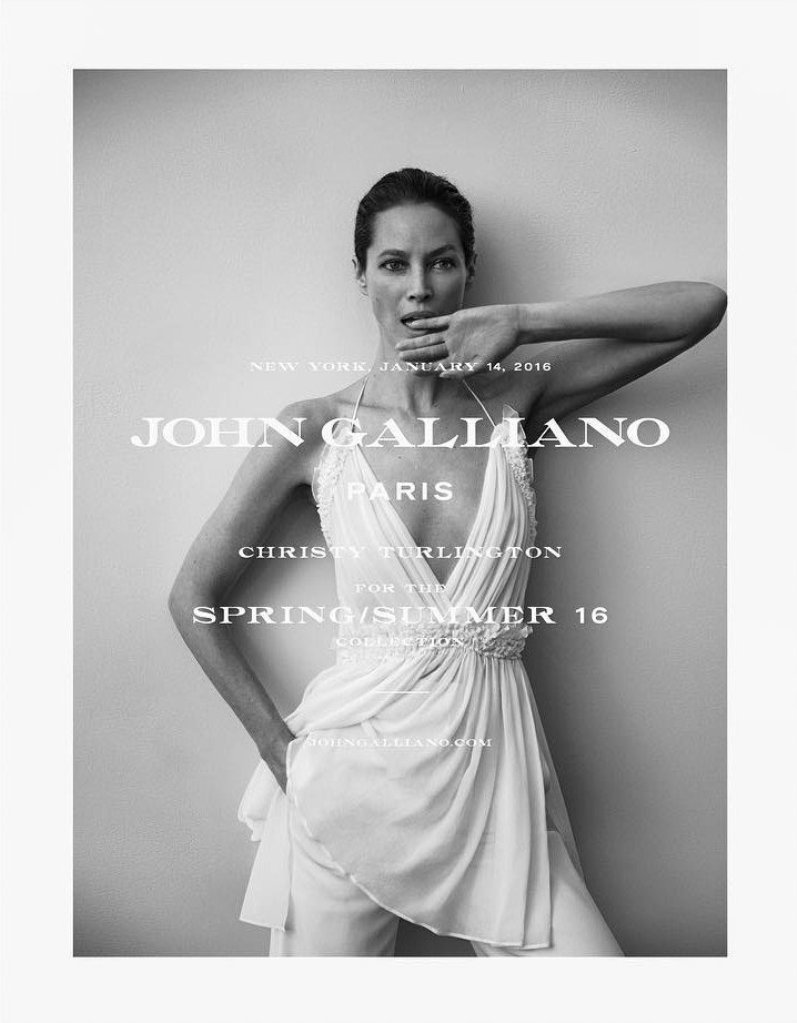 Christy Turlington Fronts Spring/Summer 2016 John Galliano Brand Ad Campaign